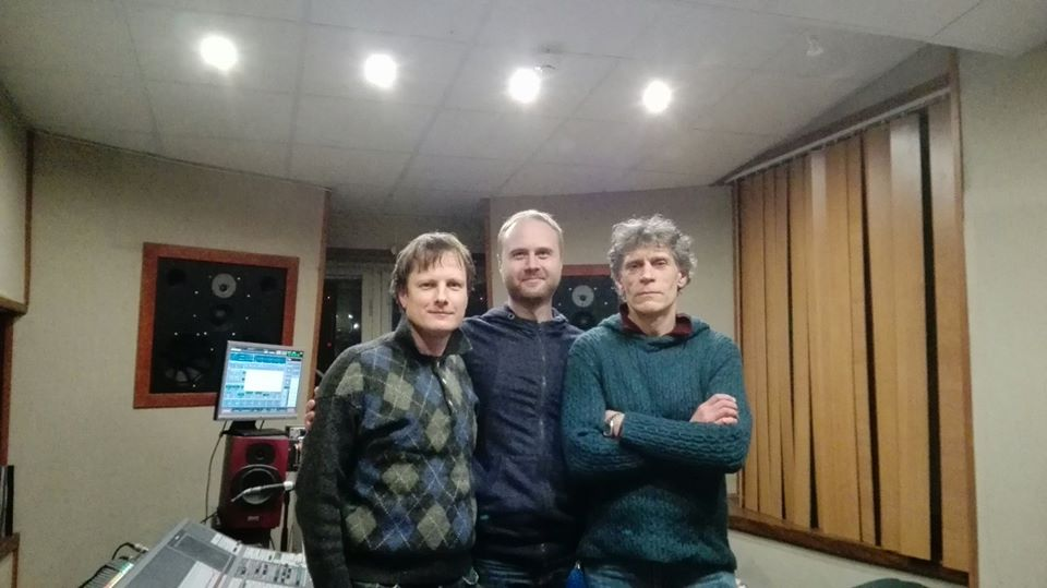 The final music mixing day with Titas Petrikis (Left), Arunas Zujus (Centre), and Audrius Juzenas (Right)